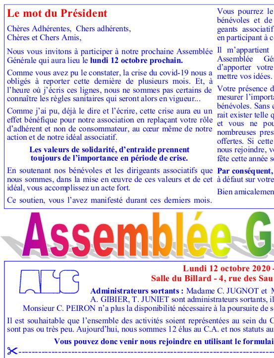 Formulaire de convocation à l'Assemblée Générale de l'ALC, le 12/10/2020