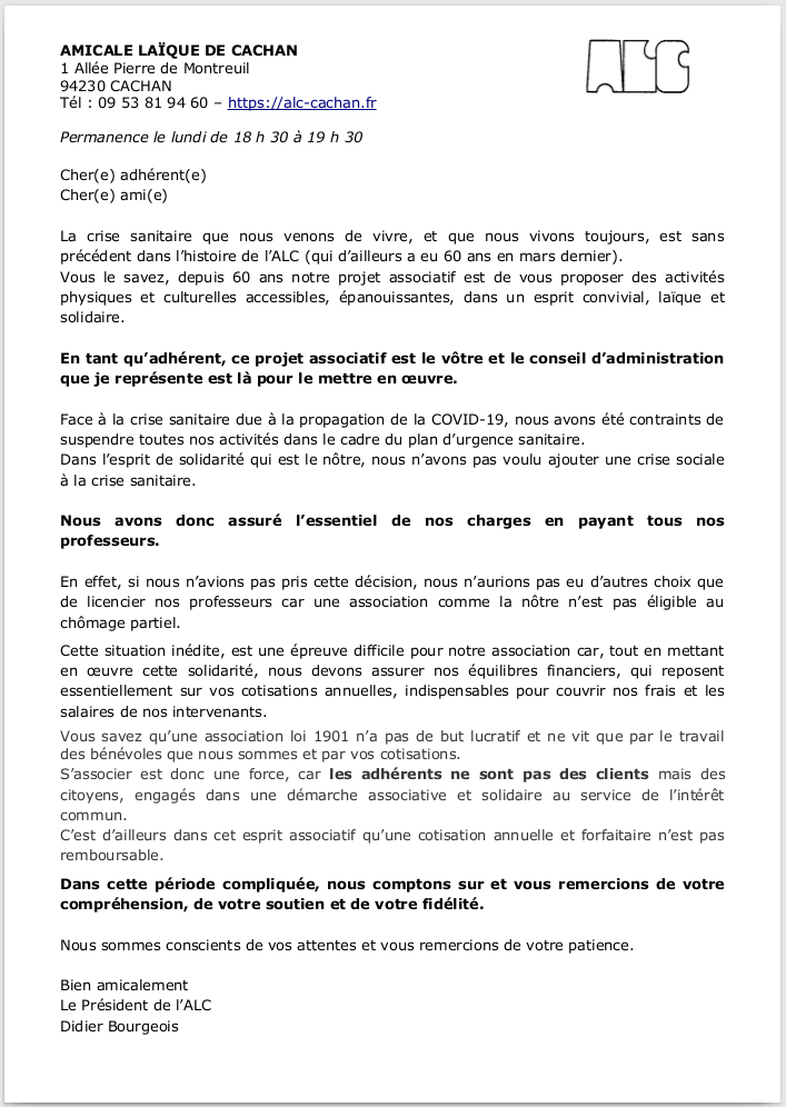 Image de la lettre ouverte du Conseil dAdministration en réponse à certaines demandes d'adhérent⋅e⋅s