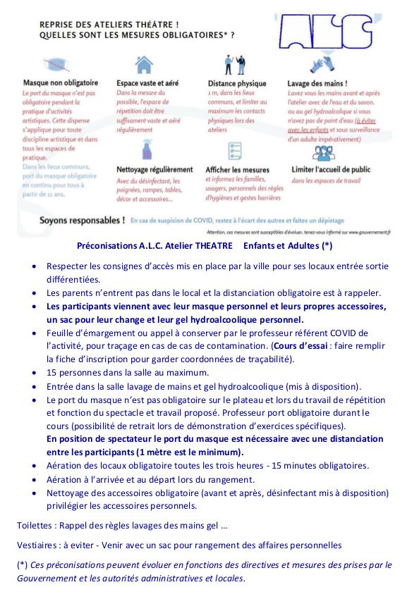 Télécharger le protocole lié au COVID19 pour la reprise de l'activité Théatre à Cachan - Saison 2020/2021
